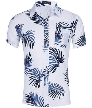 Camisa hawaiana blanca, dibujo hoja de palmera