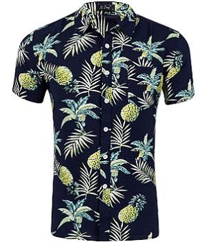 Camisa hawaiana negra con piñas