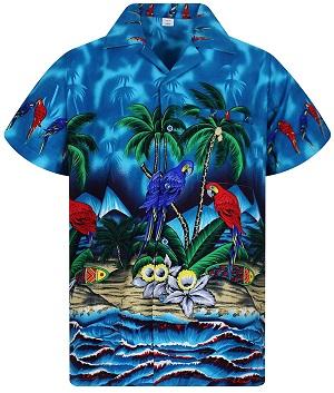 Camisa hawaiana motivo frutas exoticas piñas