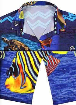 camisa hawaiana motivo oceano, peces y tortugas
