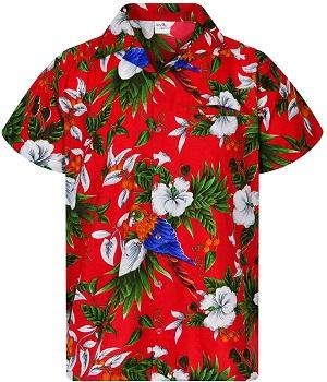 camisa hawaiana roja estampado de flores