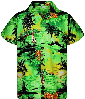 camisa hawaiana verde