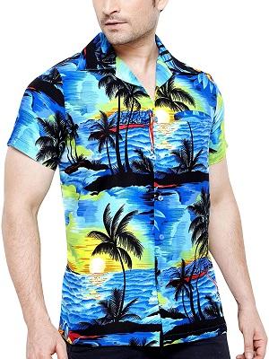 hombre con camisa hawaiana azul