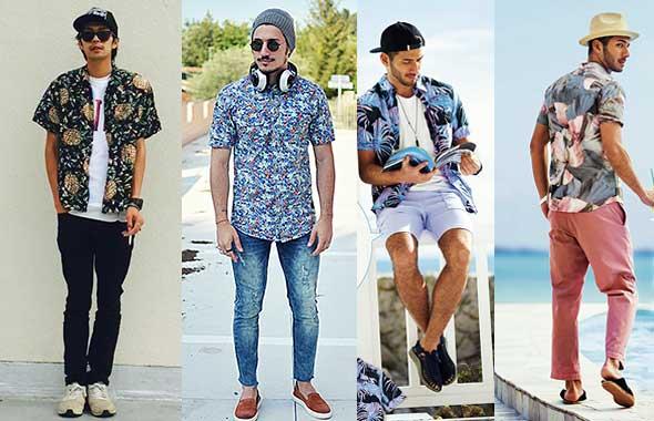 hombres estilos de camisa hawaianas