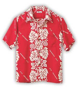 camisa hawaiana roja estampado frontera